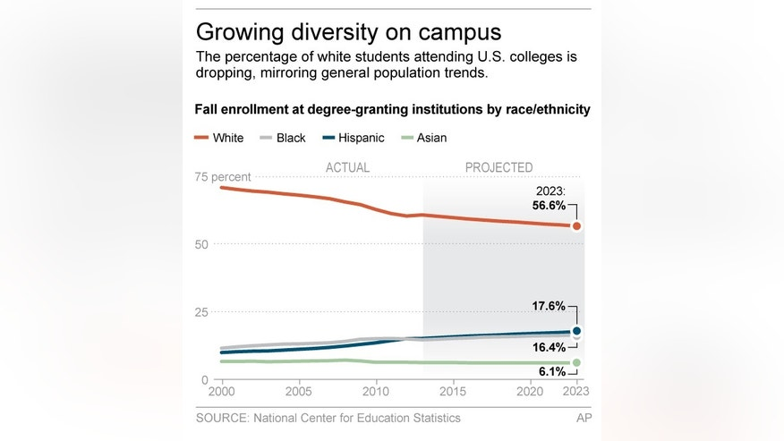 Graphic shows demographic makeup of U.S. colleges; 2c x 4 inches; 96.3 mm x 101 mm;