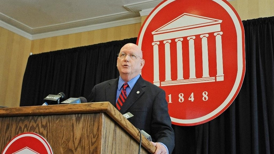 University of Mississippi Chancellor Dan Jones speaks at a press conference at the Lyceum in Oxford, Miss., Thursday, April 2, 2015.  Jones announced that he and the Mississippi Board of Trustees of State Institutions of Higher Learning could not reach an agreement on his future as chancellor and that he would be leaving his position when his contract ends in September. (AP Photo/Oxford Eagle, Thomas Graning) MAGS OUT, NO SALES, MANDATORY CREDIT