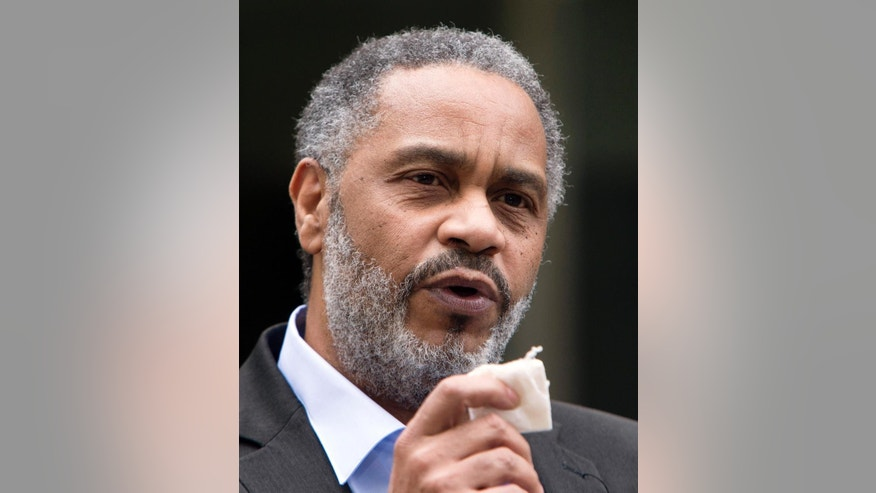 Anthony Ray Hinton talks with the media after walking out of the Jefferson County jail, a free man, Friday, April 3, 2015, in Birmingham, Ala. Hinton spent nearly 30 years on Alabama's death row, and was set free Friday after prosecutors told a judge they won't re-try him for the 1985 slayings of two fast-food managers. (AP Photo/ Hal Yeager)