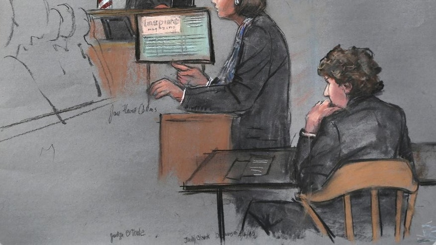 In this courtroom sketch, defense attorney Judy Clarke is depicted addressing the jury as defendant Dzhokhar Tsarnaev, right, sits during closing arguments in Tsarnaev's federal death penalty trial Monday, April 6, 2015, in Boston. Tsarnaev is charged with conspiring with his brother to place two bombs near the Boston Marathon finish line in April 2013, killing three and injuring more than 260 people. (AP Photo/Jane Flavell Collins)