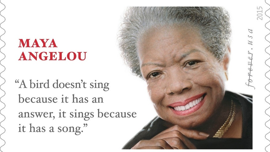 "This undated handout image provided by the US Postal Service shows the the limited edition ""Forever"" stamp honoring the late poet, author and civil rights champion Maya Angelou."