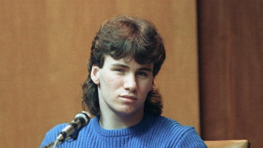 FILE - In this March 9, 1991, file photo, Patrick Randall, 17, testifies in Rockingham County Superior Court in Exeter, N.H. Randall held a knife to Gregory Smart's throat in May 1990 as Billy Flynn, who was Pamela Smart's teenage lover, shot him in the head. Flynn was paroled last month; Smart is serving life without parole after being convicted of plotting the murder.  (AP Photo/File)