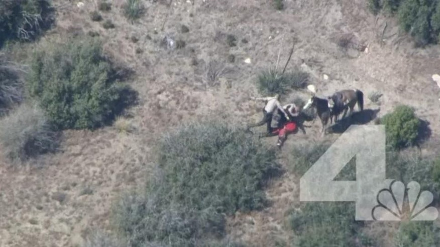 In this frame from video provided by KNBC-TV, officers beat and kick a man Thursday, April 9, 2015, near Apple Valley, Calif. A Southern California sheriff on Thursday ordered an immediate investigation after deputies were recorded beating and kicking a man who fled in a car and on horseback. (AP Photo/KNBC-TV) MANDATORY CREDIT