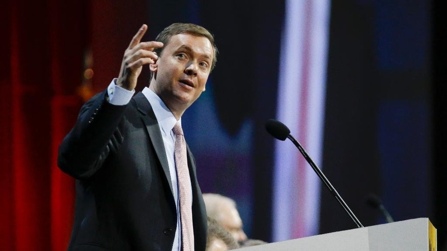 Chris Cox, executive director of the Institute for Legislative Action, the political and lobbying arm of the National Rifle Association, speaks during the annual meeting of members at the NRA convention Saturday, April 11, 2015, in Nashville, Tenn. (AP Photo/Mark Humphrey)