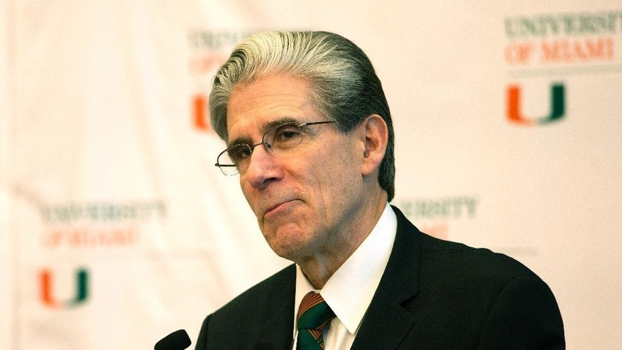Dr. Julio Frenk, the dean of Harvard' school of public health and former Mexican Cabinet member, speaks at a press conference where he was named as the new president of the University of Miami in Coral Gables, Fla., Monday, April 13, 2015. He will become the first Hispanic to lead UM, and will formally become the replacement for outgoing President Donna Shalala on Sept. 1. (AP Photo/J Pat Carter)