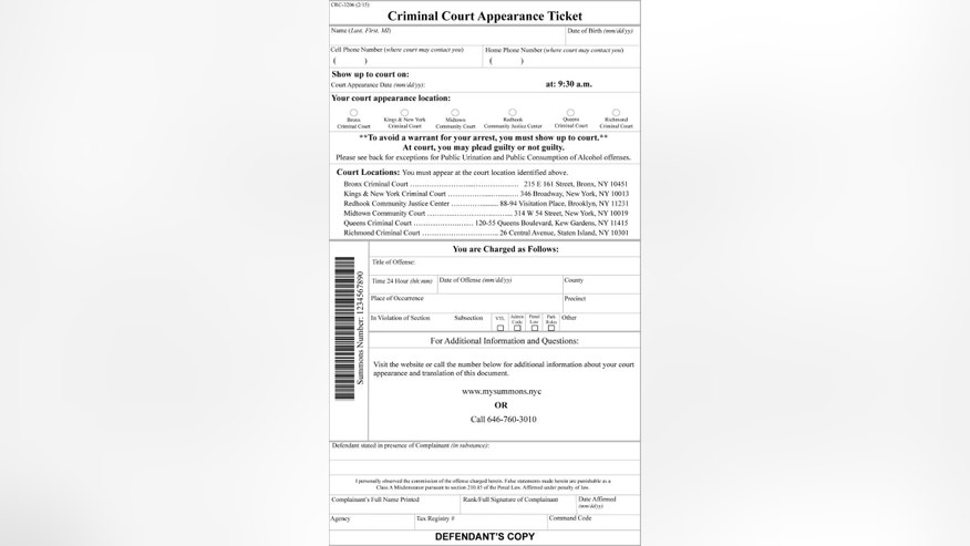 This graphic provided by New York City Hall, shows New York City's redesigned summons form. City officials on Tuesday April 14, 2015, plan to unveil a series of reforms to the summons process, including a new court appearance ticket, which is now easier to understand and harder to ignore. It has been redesigned to move the court date from the bottom to the top of the page, bubbles highlight the location of the summons court and direct language warns that failure to appear can result in arrest. (New York City Hall, via AP)