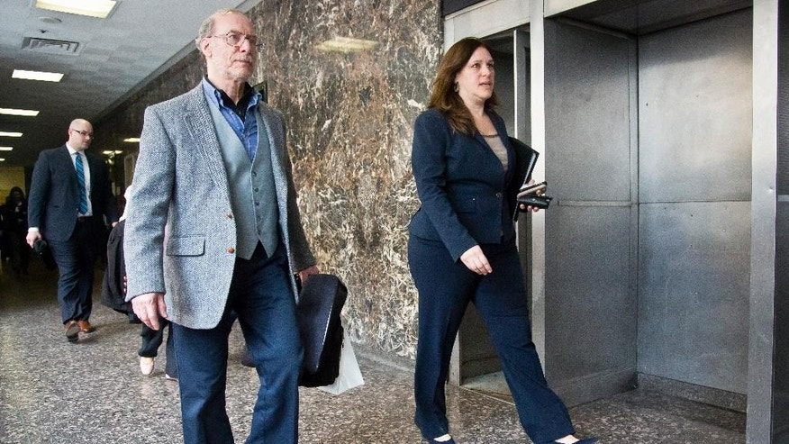 Stanley Patz, left, father of Etan Patz walks with Assistant District Attorney Joan Illuzzi-Orbon, left, during lunch break in the closing arguments in the Etan Patz murder trial of Pedro Hernandez at Manhattan Supreme Court, Tuesday, April 14, 2015, in New York. (AP Photo/Bebeto Matthews)