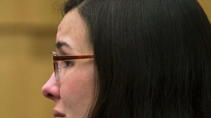 Jodi Arias looks on during her sentencing in Maricopa County Superior Court, Monday, April 13, 2015, in Phoenix. A judge sentenced Arias, a convicted murderer, to life in prison without the possibility of release, ending a nearly seven-year-old case that attracted worldwide attention with its salacious details. (Mark Henle/The Arizona Republic via AP, Pool)