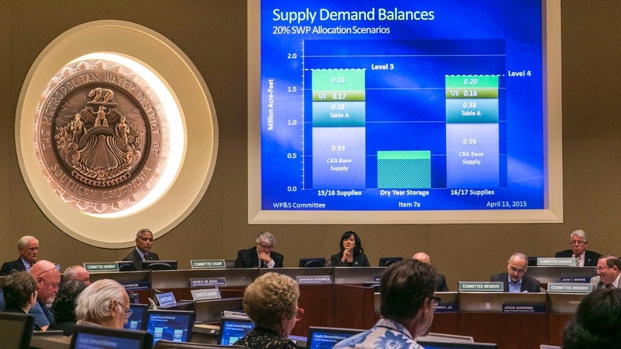 April 13, 2015: Members of the board committee of the Metropolitan Water District, MDW, check two different proposals: Supply Demand Balances, before moving forward on the Level 3 proposal that would cut regional water deliveries by 15 percent beginning this summer.