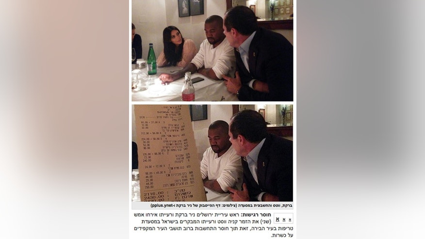"This combination of two images shows a photo released by the Jerusalem Mayor's Office with Kim Kardashian, left, Kanye West, center, and Jerusalem Mayor Nir Barkat, right, at a Jerusalem restaurant during their visit on Monday, April 13, 2015, top, and a screen shot from the ultra-Orthodox Kikar HaShabbat website manipulated to obscure Kardashian. Nissim Ben Haim, an editor at the website, said Wednesday, April 15, 2015, they removed Kardashian because she is a ""pornographic symbol"" who contradicts ultra-Orthodox values. (Sapir Peles/Jerusalem Municipality spokesman's office and Kikar HaShabbat website via AP)"