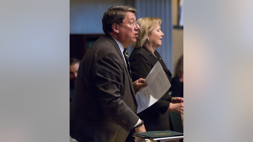 State Senate Majority Leader Mark Norris, R-Collierville, attends a floor session floor session in Nashville, Tenn., on Thursday, April 16, 2015. Norris opposed a bill seeking to make the holy Bible the official book of Tennessee. (AP Photo/Erik Schelzig)