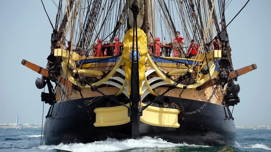 The 213 feet long frigate Hermione sails at La Rochelle, southwest France, as part of preparation of a trip to America, Wednesday, April 15, 2015. The replica of the frigate Hermione, which, in 1780, allowed La Fayette to cross the Atlantic to America and join the American rebels in their struggle for independence aims to cross the Atlantic and will sets off on Saturday. (AP Photo/Francois Mori)
