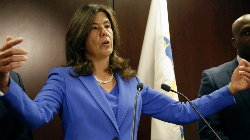 "Cook County State's Attorney Anita Alvarez speaks at a news conference Monday, April 20, 2015, in Chicago  announcing her office will no longer prosecute most misdemeanor marijuana possession cases, saying what prosecutors are doing now ""is simply not working."" She says the count is spending too much money and time cycling offenders in and out of the system and offenders charged with a low-level marijuana felony will be routed to an alternative prosecution program. (AP Photo/M. Spencer Green)"