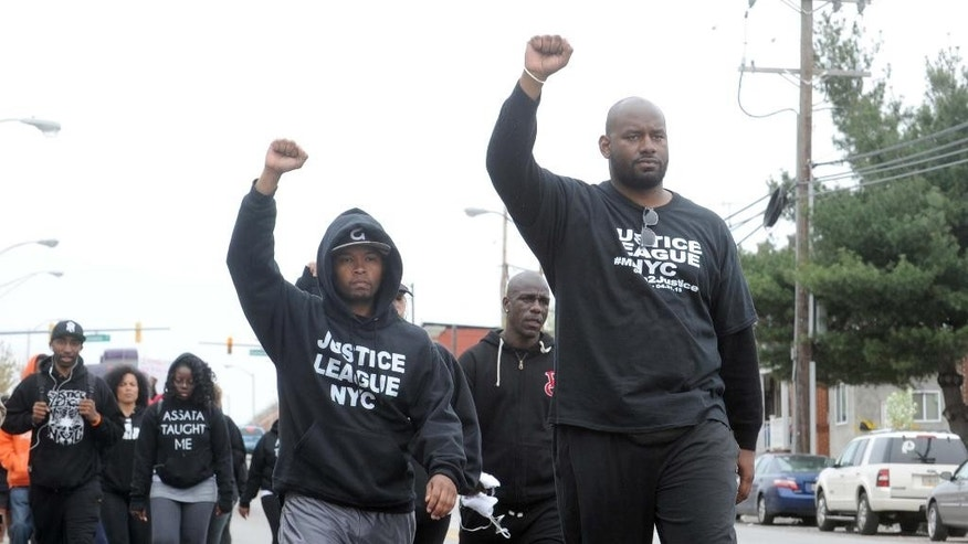 April 19, 2015: Citizens and groups such as the Justice League of NYC protest against the police following the death of Freddie Gray in Baltimore. Gray, 25, of Baltimore, died Sunday at a hospital, a week after he was hurt following an arrest.