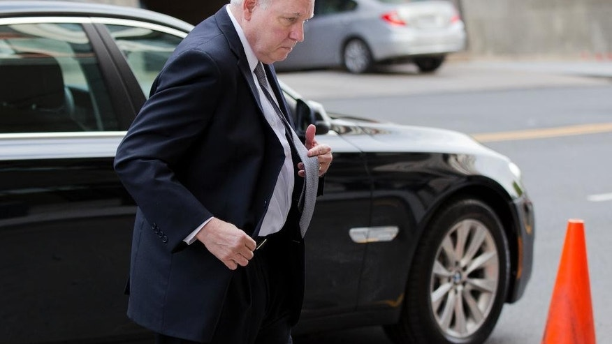 Scott Hinckley, brother of John Hinckley, arrives at the federal courthouse in Washington, Wednesday, April 22, 2015, for hearings on whether John Hinckley, the man who attempted to assassinate President Ronald Reagan in 1981, should spend more time outside a mental hospital that has been his home for decades.   (AP Photo/Manuel Balce Ceneta)