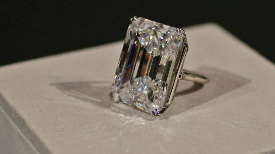 April 17, 2015: A 100-carat emerald-cut diamond is on display at Sotheby's.
