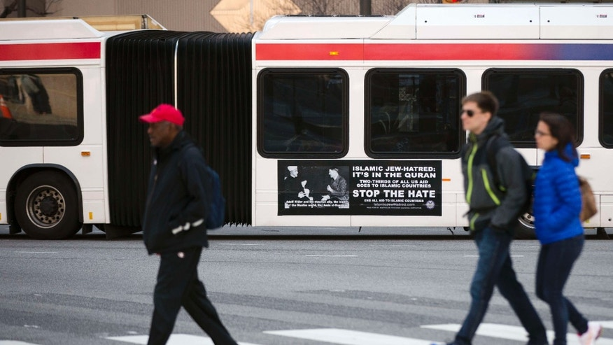 April 1, 2015: An ad from the pro-Israel American Freedom Defense Initiative is seen on an articulated Southeastern Pennsylvania Transportation Authority (SEPTA) bus featuring a 1941 photograph of Hitler and supporter Hajj Amin al-Husseini, a Palestinian Arab nationalist.