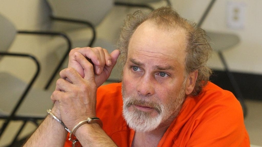 Robbie Knievel makes his initial appearance in city court Wednesday, April 22, 2015, following his arrest on suspicion of felony driving under the influence in Butte, the Montana town that his daredevil father Evel Knievel helped make famous. (Walter Hinick/The Montana Standard via AP)