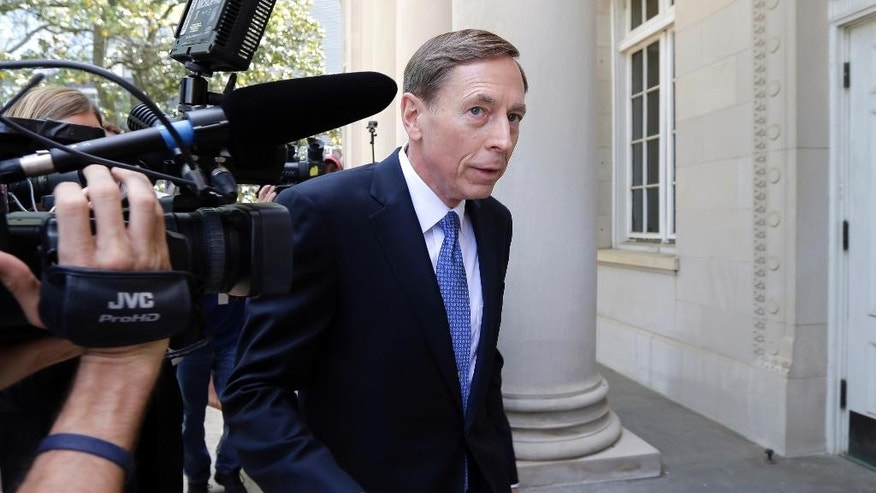 Former CIA director David Petraeus, whose career was destroyed by an extramarital affair with his biographer, arrives for sentencing at the federal courthouse in Charlotte, N.C., Thursday, April 23, 2015. Petraeus is expected to plead guilty to sharing top government secrets with his biographer. (AP Photo/Bob Leverone)