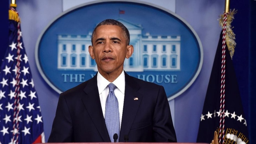 President Barack Obama speaks in the Brady Press Briefing Room of the White House in Washington, Thursday, April 23, 2015. The president expressed condolences to families of Italian, American killed in counterterror operation.  (AP Photo/Susan Walsh)