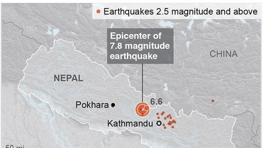 UPDATE MAKES SPELLING OF KATHMANDU CONSISTANT: Map locates a deadly earthquake in Nepal. ; 2c x 3 inches; 96.3 mm x 76 mm;