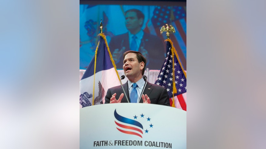 Republican presidential hopeful Sen. Marco Rubio, R-Fla. speaks at the Iowa Faith & Freedom 15th Annual Spring Kick Off, in Waukee, Iowa, Saturday, April 25, 2015. (AP Photo/Nati Harnik)