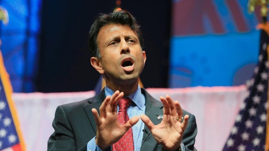 Louisiana Gov. Bobby Jindal speaks at the Iowa Faith & Freedom 15th Annual Spring Kick Off, in Waukee, Iowa, Saturday, April 25, 2015. (AP Photo/Nati Harnik)