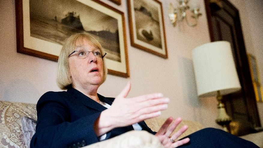 "In this photo taken April 23, 2015, Sen. Patty Murray, D-Wash. speaks during an interview with The Associated Press in her office on Capitol Hill.  There's a disturbance in the force of the tradition-bound Senate and her name is Patty Murray. The Washington state Democrat, once famously dubbed ""just a mom in tennis shoes,"" is the reason behind an uncomfortable power standoff between two men who intend to lead the Democrats after Minority Leader Harry Reid retires. Murray, her quiet style and her clout amassed over 22 years in the Senate, poses a challenge to the way things work in Washington. She's poised to be the first woman in the Senate's top-tier leadership. And she's outgrown her image as the ultimate underdog, if not the mom in storied footwear. (AP Photo/Andrew Harnik)"