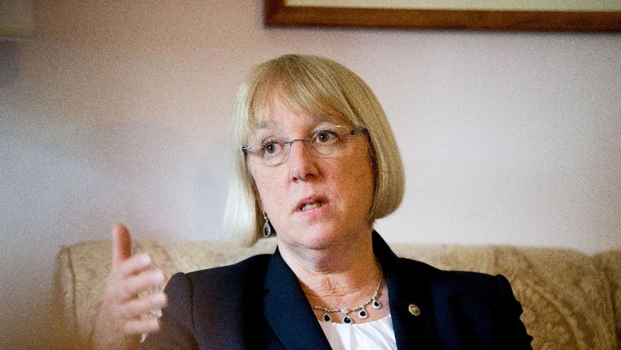 "In this photo taken April 23, 2015, Sen. Patty Murray, D-Wash. speaks during an interview with The Associated Press in her office on Capitol Hill in Washington. There's a disturbance in the force of the tradition-bound Senate and her name is Patty Murray. The Washington state Democrat, once famously dubbed ""just a mom in tennis shoes,"" is the reason behind an uncomfortable power standoff between two men who intend to lead the Democrats after Minority Leader Harry Reid retires. Murray, her quiet style and her clout amassed over 22 years in the Senate, poses a challenge to the way things work in Washington. She's poised to be the first woman in the Senate's top-tier leadership. And she's outgrown her image as the ultimate underdog, if not the mom in storied footwear. (AP Photo/Andrew Harnik)"