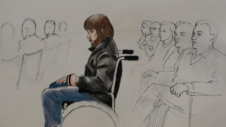 In this Monday, April 27, 2015, sketch by courtroom artist Jeff Kandyba, Caleb Medley, who was shot in the head during the massacre at the theatre in Aurora, Colo., is shown during the opening day of the trial for Aurora, Colo., theatre shooting suspect James Holmes in Centennial, Colo. The trial will determine if Holmes will be executed, spend his life in prison or be committed to an institution as criminally insane. (AP Photo/Jeff Kandyba)
