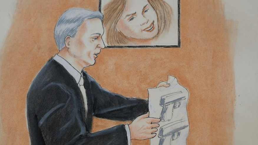 ADDS RESTRICTIONS In this Monday, April 27, 2015, sketch by courtroom artist Jeff Kandyba, prosecutor George Brauchler makes a point during the opening day of the trial for Aurora, Colo., theatre shooting suspect James Holmes Monday, April 27, 2015, in Centennial, Colo. The trial will determine if Holmes will be executed, spend his life in prison or be committed to an institution as criminally insane. (AP Photo/Jeff Kandyba)