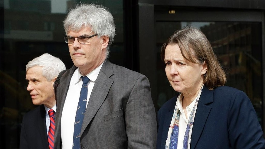Defense attorneys, from left, David Bruck, Timothy Watkins and Judy Clarke leave federal court in Boston at the end of the day's session Monday, April 27, 2015, during the penalty phase in the trial of Dzhokhar Tsarnaev. Tsarnaev was convicted of the Boston Marathon bombings that killed three and injured 260 people in April 2013. (AP Photo/Steven Senne)