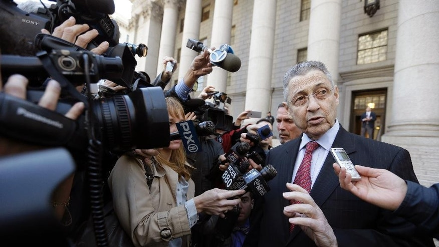 Former New York state Assembly Speaker Sheldon Silver speaks to reporters as he leaves court, Tuesday, April 28, 2015, in New York. A Nov. 2 trial date has been set for a jury to hear the corruption case brought against Silver. (AP Photo/Mary Altaffer)