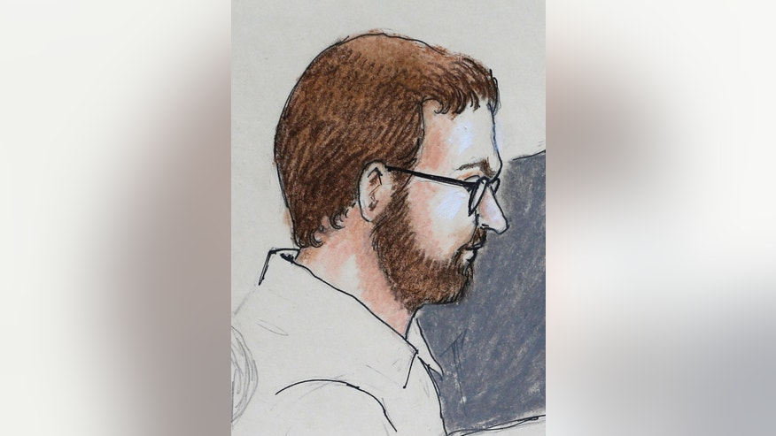 File - In this Monday, April 27, 2015 file sketch by courtroom artist Jeff Kandyba, movie theater massacre defendant James Holmes is depicted as he sits in court at the Arapahoe County Justice Center on the first day of his trial, in Centennial, Colo. The courtroom where the Colorado theater shooting trial is now unfolding is awash with emotion, as survivors recount the horrors of dodging gunfire and stumbling over loved ones' maimed bodies as they fled. (AP Photo/Jeff Kandyba, file)