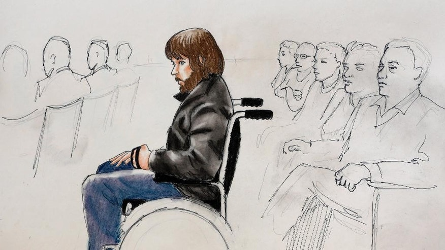 FILE - This Monday, April 27, 2015, sketch by courtroom artist Jeff Kandyba shows Caleb Medley, who was shot in the head during the massacre at the theatre in Aurora, Colo., during the opening day of the trial of shooting suspect James Holmes in Centennial, Colo. Defense attorneys have urged jurors not to let emotions sway them, but with weeks of harrowing testimony still to come, experts say Holmes' lawyers will have a difficult time convincing jurors to put sympathy behind them as they decide whether he was legally insane when he killed 12 people and injured 70 others in July 2012. (AP Photo/Jeff Kandyba, File)