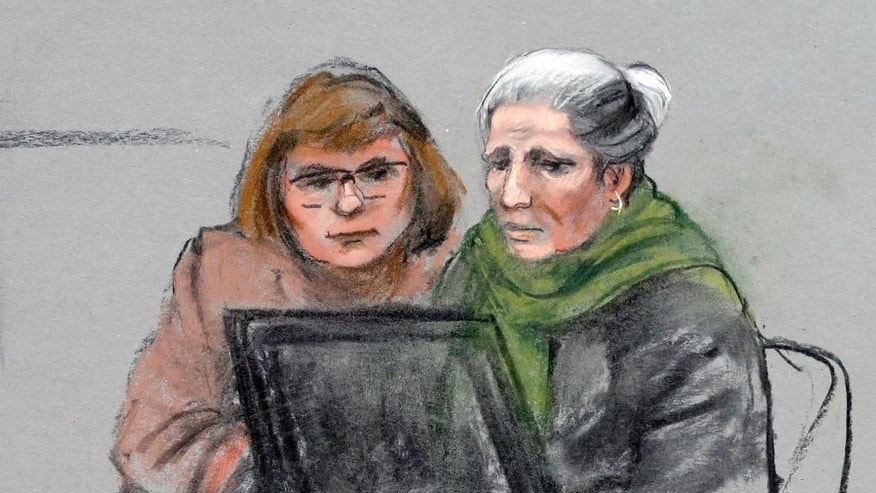In this courtroom sketch, Shakhruzat Suleimanova, right, an aunt of Dzhokhar Tsarnaev, is depicted alongside an interpreter as she testifies during the penalty phase in the Tsarnaev's trial Monday, May 4, 2015, in federal court in Boston. Tsarnaev was convicted in the Boston Marathon bombings that killed three and injured 260 people in April 2013. (Jane Flavell Collins via AP)