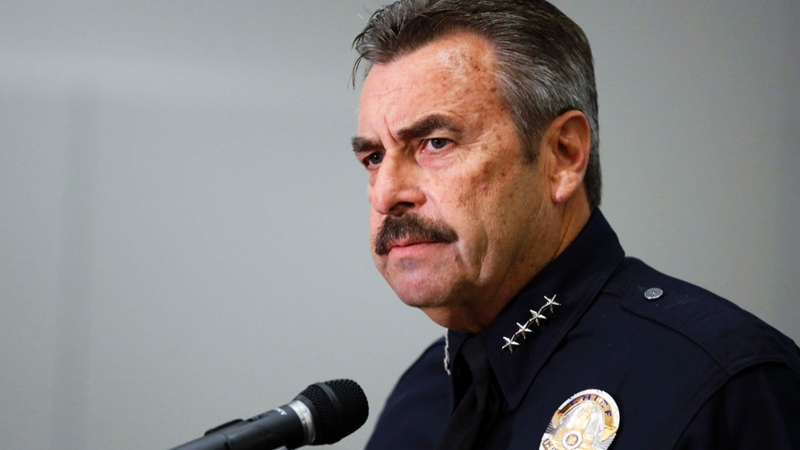 Feb. 4, 2014:  Los Angeles Police Chief Charlie Beck speaks during a news conference at LAPD headquarters in downtown Los Angeles.