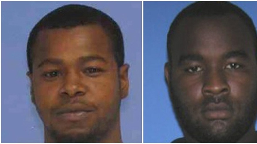 This combination of undated photos released the Mississippi Bureau of Investigation shows, Marvin Banks, left, and his brother Curtis Banks. The brothers are wanted in the fatal shooting of two Hattiesburg, Miss., police officers on Saturday, May 9, 2015.  (Mississippi Bureau of Investigation via The Hattiesburg Police Department via AP)