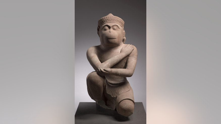 This undated photo provided by The Cleveland Museum of Art shows the statue of Hanuman, the Hindu monkey god, in Cleveland. The Cleveland Museum of Art returned the 10th-century statue to Cambodia after it uncovered evidence the sculpture was probably looted during the country's civil war. (The Cleveland Museum of Art via AP)