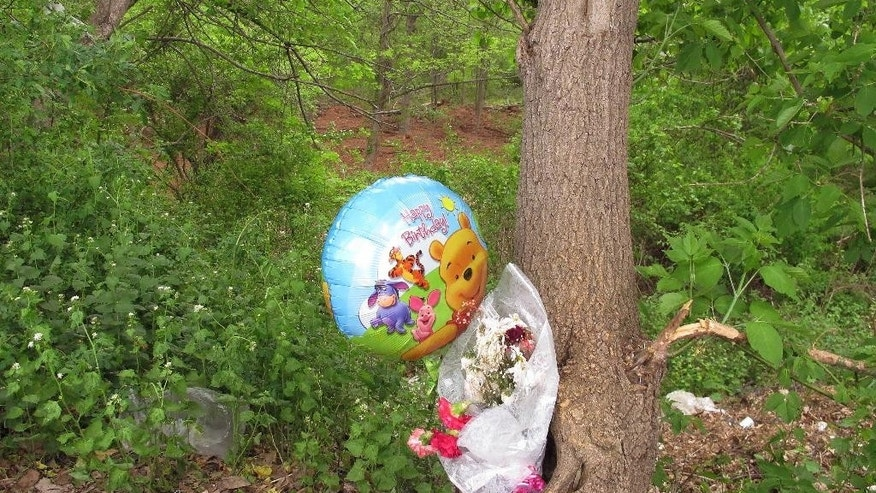 A happy birthday balloon and flowers left for one of seven victims of a suspected serial killer are tied to a tree in New Britain, Conn., on Tuesday, May 12, 2015. A clearing in the woods seen just above the balloon is one area of the woods where the remains of the seven victims were found in 2007 and last month. A man who has been behind bars for a decade for killing a woman is suspected in the slayings of seven people whose bodies were found buried in the woods behind a Connecticut shopping center.   (AP Photo/Dave Collins)