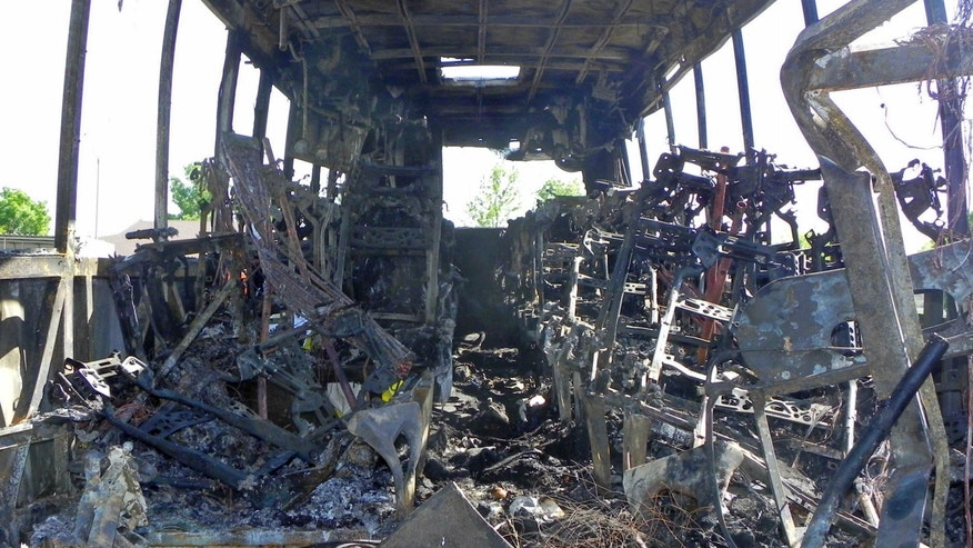 April, 2014: This photo released by the National Transportation Safety Board shows the interior of a tour bus after it collided with a FedEx truck and burned on Interstate 5 in Orland, Calif.