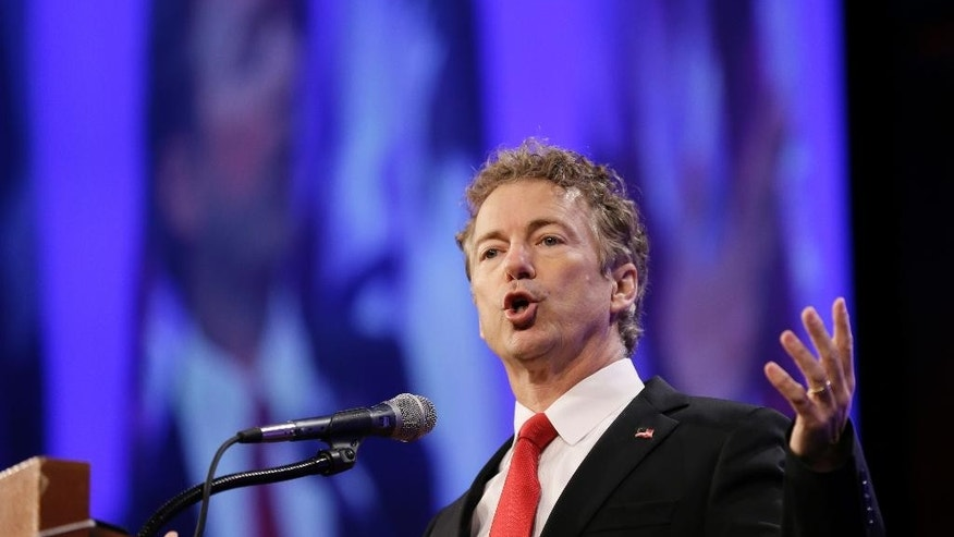 Republican presidential candidate Sen. Rand Paul speaks during the Iowa Republican Party's Lincoln Dinner, Saturday, May 16, 2015, in Des Moines, Iowa. (AP Photo/Charlie Neibergall)