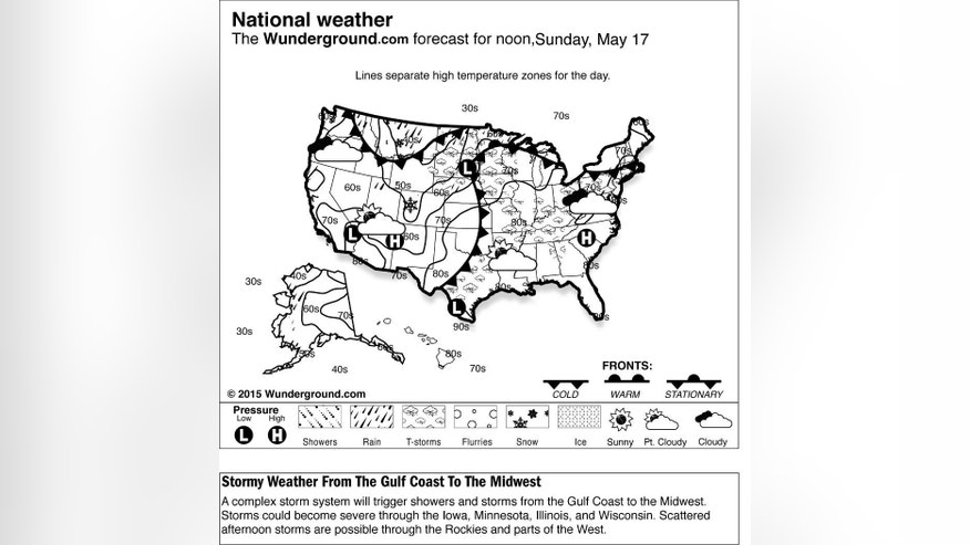 The forecast for noon, Sunday, May 17, 2015 shows a complex storm system will trigger showers and storms from the Gulf Coast to the Midwest. Storms could become severe through the Iowa, Minnesota, Illinois, and Wisconsin. Scattered afternoon storms are possible through the Rockies and parts of the West. (Weather Underground via AP)