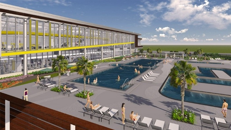 "The project at LSU includes a ""lazy river"" in the shape of the school's initials.(LSU UREC)"