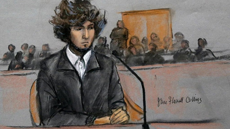FILE - In this Thursday, Dec. 18, 2014 courtroom sketch, Boston Marathon bombing suspect Dzhokhar Tsarnaev sits in federal court in Boston for a final hearing before his trial begins in January. On Friday, May 15, 2015, Dzhokhar Tsarnaev was sentenced to death by lethal injection for the 2013 Boston Marathon terror attack. Some analysts worry that Tsarnaev's eventual execution could inspire more attacks. But others, including Islamic leaders, say no: Tsarnaev was more of a lone wolf with a low profile among radical jihadists and no known links to the Islamic State group, al-Qaida or other influential terror organizations. (Jane Flavell Collins via AP, File)