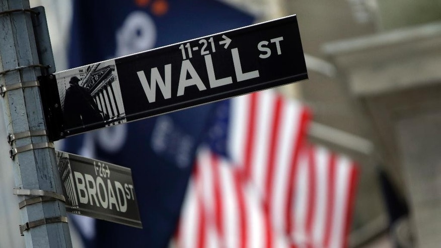 FILE - This Oct. 2, 2014 file photo shows a Wall Street sign adjacent to the New York Stock Exchange, in New York. U.S. stocks indexes are edging lower in early trading Monday, May 18, 2015, as the market comes off its latest record high. (AP Photo/Richard Drew, File)