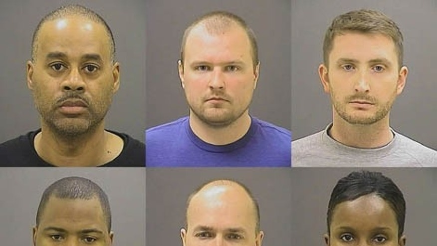 File-This file photo provided by the Baltimore Police Department on Friday, May 1, 2015 shows, top row from left, Caesar R. Goodson Jr., Garrett E. Miller and Edward M. Nero, and bottom row from left, William G. Porter, Brian W. Rice and Alicia D. White, the six police officers charged with felonies ranging from assault to murder in the death of Freddie Gray. (Baltimore Police Department via AP, File)