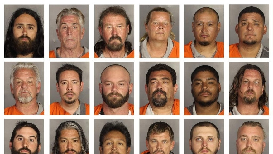 This combination of booking photos provided by the McLennan County Sheriff's office shows people arrested during the motorcycle gang related shooting at the Twin Peaks restaurant in Waco, Texas on Sunday, May 17, 2015. Top row from left; Jonathan Lopez, Richard Luther, Michael Lynch, Sandra Lynch, Eleazar Martinez and Tom Mendez. Middle row from left; Marshall Mitchell, Diego Obledo, Danny Oehlert, Larry Pina, Jerry Pollard and Jimmy Pond. Bottom row from left; Clayton Reed, Rolando Reyes, Sergio Reyes, Kyle Smith, Jimmy Spencer and Blake Taylor. (McLennan County Sheriff's Office via AP)