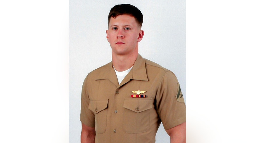 This undated photo provided by the US Marine Corps shows Lance Cpl. Joshua E. Barron, 24, of Spokane, Wash. Military officials have identified Barron, who was killed when a military aircraft crashed during a training exercise in Hawaii on Sunday, May17, 2015. The Marine Corps says  Barron died of injuries sustained when the MV-22 Osprey went down Sunday at a military base outside Honolulu. (Marine Corps via AP)