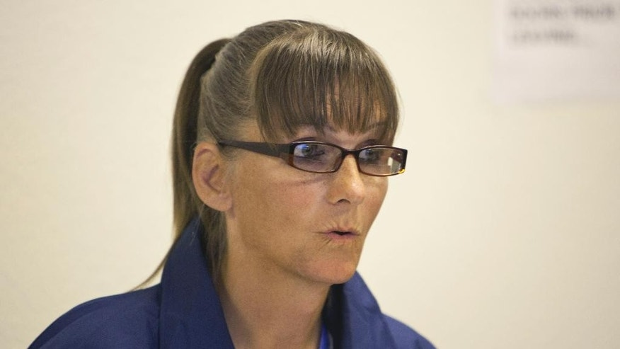 Inmate Michelle-Lael Norsworthy speaks during her parole hearing at Mule Creek State Prison in Ione, Calif., Thursday, May 21, 2015. A federal judge ordered The California Department of Corrections and Rehabilitation to provide the transgender inmate with sex reassignment surgery, the first time such an operation has been ordered in the state. The parole board granted Norsworthy's request for parole which could change her possibility of surgery while in custody. (AP Photo/Steve Yeater)